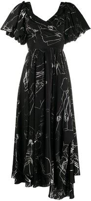 Alexander McQueen CDC print draped dress