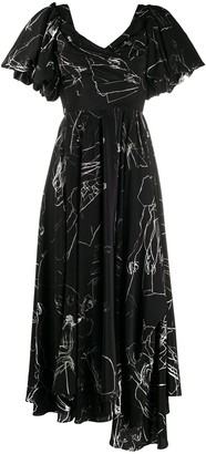 Alexander McQueen CDC print draped dress