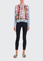 Dolce & Gabbana Floral-Print Silk Button-Front Cardigan