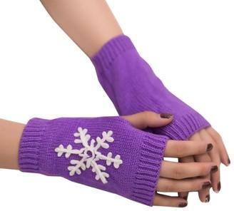 HUYURI Women Girl Knitted Arm Fingerless Warm Winter Gloves Soft Warm Mitten Purple