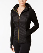 MICHAEL Michael Kors Hooded Knit-Sleeve Puffer Coat