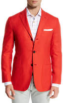 Kiton Menswear Cashmere Three-Button Blazer, Coral