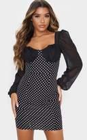 PrettyLittleThing Black Contrast Polka Dot Cup Detail Shift Dress