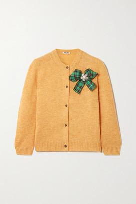 Miu Miu Bow-detailed Embellished Wool Cardigan - Yellow