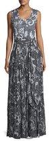 Diane von Furstenberg Floral-Print Cotton-Silk Sleeveless Maxi Dress, Black