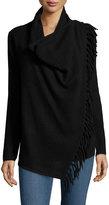 Neiman Marcus Cashmere Draped-Front Fringed Cardigan, Black
