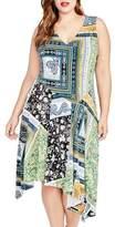 Rachel Roy Plus Size Women's Scarf Print Handkerchief Hem Dress