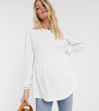 Asos DESIGN Maternity smock with blouson long sleeve and tie back