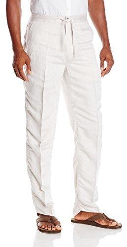 Cubavera Men's Herringbone Drawstring Pant, Natural Linen