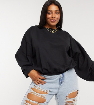 Urban Bliss Plus balloon sleeve sweat in black