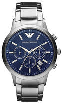 Emporio Armani Men's Large Round Blue Dial with Chronograph and Stainless Steel Bracelet Watch