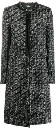 Karl Lagerfeld Paris detachable bottom boucle coat
