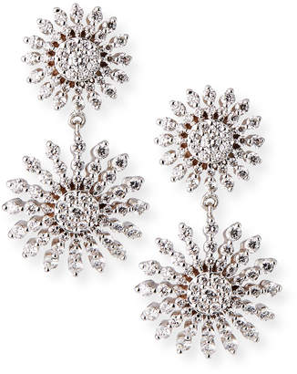 Roberto Coin Sunburst Oklahoma 18k White Gold Diamond Earrings