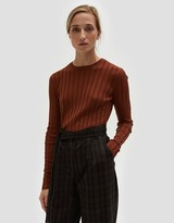 Long Sleeve Ribbed Pullover in Brown