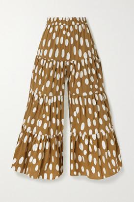 Mara Hoffman Shelesea Fil Coupe Organic Cotton And Linen-blend Wide-leg Pants - Army green