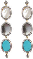 Freida Rothman Triple Oval Mixed Stone Drop Earrings