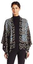 Anna Sui Women's Checkerboard Roses Print Crepe Kimono
