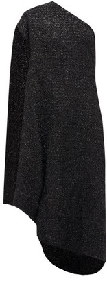 Balenciaga Asymmetric Lurex-tweed Midi Dress - Womens - Black