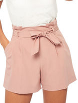 Miss Selfridge Pleated Tie-Front Zipped Shorts