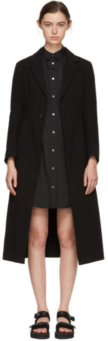 Y's Ys Black U-Slim Long Overcoat
