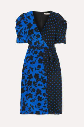 Alice + Olivia Alice Olivia - Siona Wrap-effect Printed Silk Crepe De Chine Dress - Blue