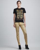 Faith Connexion Metallic Jacquard-Print Skinny Pants