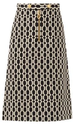 Gucci A-line Optical Wool-tweed Skirt - Black Multi