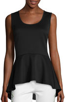 Bisou Bisou Sleeveless High-Low Cross-Back Peplum Top