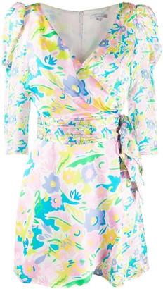 Olivia Rubin Neon Floral-Print Wrap Dress