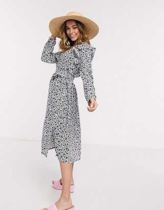 Glamorous long sleeve midi tea dress in mono ditsy print