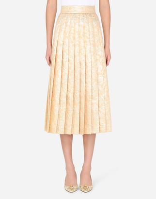 Dolce & Gabbana Pleated Lame Jacquard Midi Skirt