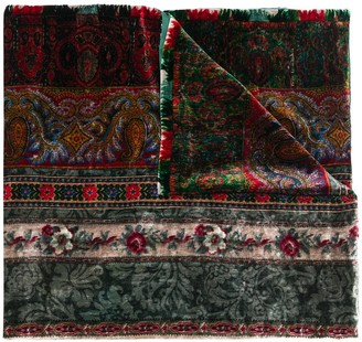 Pierre Louis Mascia Floral-Print Velvet Scarf