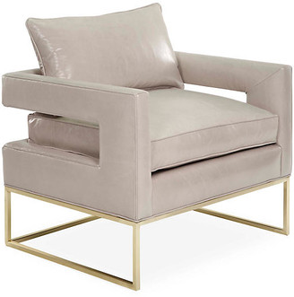 One Kings Lane Bevin Chair - Brass/Oyster Leather