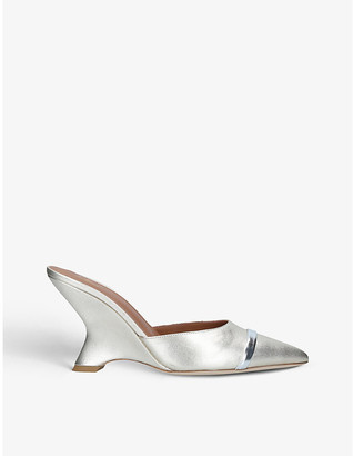 Malone Souliers Marilyn metallic-leather wedge mules
