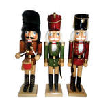 Asstd National Brand 14 Natural Wood Nutcracker- Set of 3