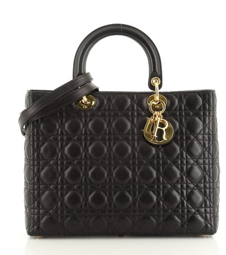 Christian Dior Vintage Lady Bag Cannage Quilt Lambskin Large