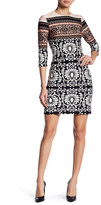 Taylor Scuba Colorblock Mixed Scroll Pattern Dress