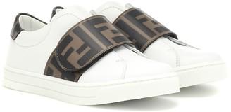 Fendi Kids Logo leather sneakers