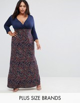 Club L Plus Printed Wrap Maxi Dress With 3/4 Sleeves