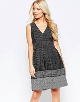 Yumi Border Print Dress with Contrast Belt
