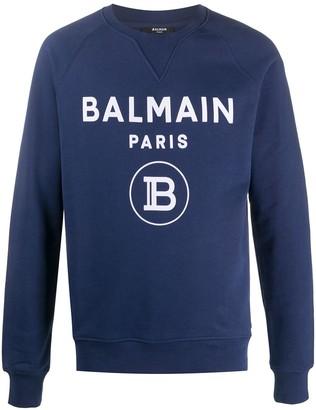 Balmain Logo Print Crew Neck Sweatshirt