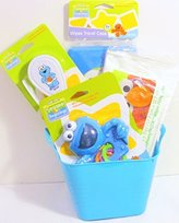 Sesame Street Bundle - 5 Items Sesame Beginnings Baby Toddler Accessories Gift Set with Water-filled Teether, Hair Brush and Comb, Wipes Travel Case, Cushiony Thick Wipes with a Mini Tub