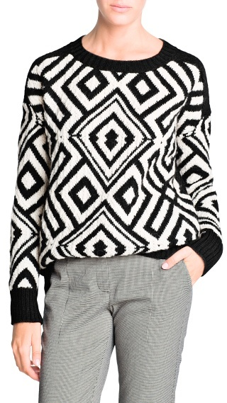 MANGO Geometric Pattern Sweater