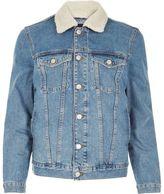 River Island MensStonewash fleece collar denim jacket