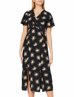 Dorothy Perkins Women's Black Floral V Front Tea Midi Dress Casual 12