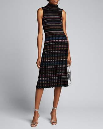 Milly Pleated Metallic Stripe Sleeveless Turtleneck Dress