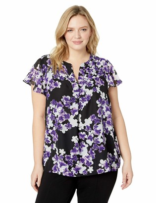 Calvin Klein Women's Plus Size Printed Flutter Sleeve Top