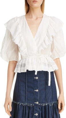 Chloé Puff Sleeve Ruffle Wrap Top