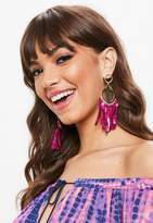 Missguided Gold Drop Hoop Pink Sequin Tassel Earrings