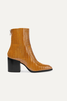 AEYDĒ Lidia Glossed Croc-effect Leather Ankle Boots - Mustard